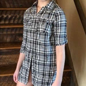 Other - Miss Attitude Long, Plaid, 3/4 Sleeve Top